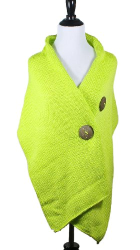 304fc9a76b3e Pure HANDKNIT Original Button Wrap Sweater Neon Lime Green at Amazon ...