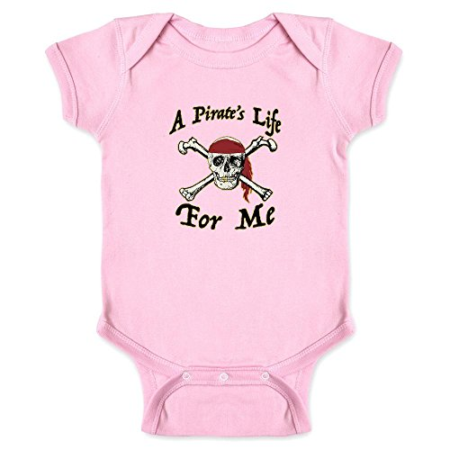 Pop Threads A Pirate's Life for Me Halloween Costume Skull Pink 6M Infant Bodysuit -