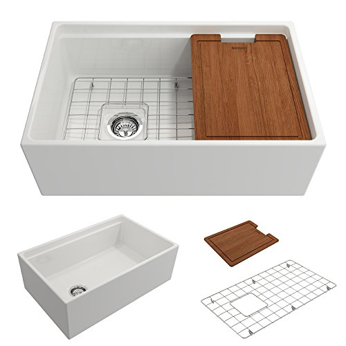 - BOCCHI 1344-001-0120 Contempo Apron Front Step Rim Fireclay 30 in. Single Bowl Kitchen Sink with Protective Bottom Grid and Strainer in White,