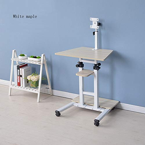 Tables MEIDUO Stand Up Desk/Height Adjustable Computer Work Station Rolling Presentation Cart with Monitor Arm (Color : White Maple) -