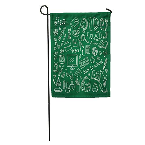 (Semtomn Garden Flag Kids School Doodle Educational and Science Symbols Stuff Outline Creative Home Yard House Decor Barnner Outdoor Stand 28x40 Inches Flag)