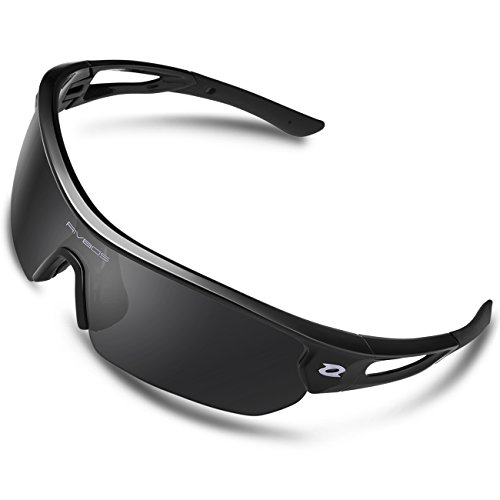 RIVBOS Polarized Sports Sunglasses Sun Glasses with 4 Interchangeable Lenses for Men Women Baseball Cycling Running TR90 Frame RB832 (Black Polarized Lens) - Glass Sun Sports