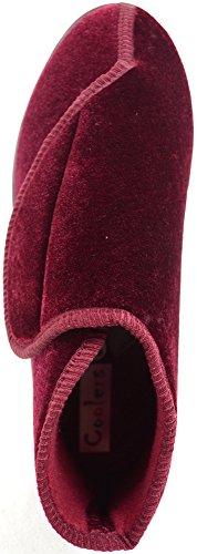 Snugrugs Dames / Dames Orthopedisch / Eee Wijdvallende Velcro Slipper Laars / Pantoffels Bordeaux Rood