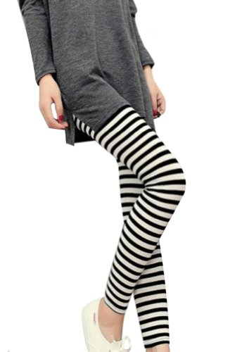ThunderCloud Women's Stretchy Horizontal Back & White Striped Ankle Length Legging Pants