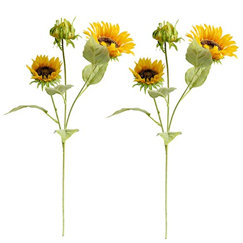 Htmeing Artificial Sunflowers Silk Flowers Fake Branches Decorative Plants Stems for Home Office Shop Decor (2pcs)