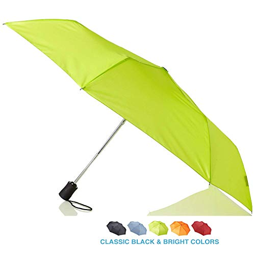 Lewis N. Clark Travel Umbrella: Windproof & Water Repellent with Mildew Resistant Fabric, Automatic Open Close & 1 Year Warranty, Green