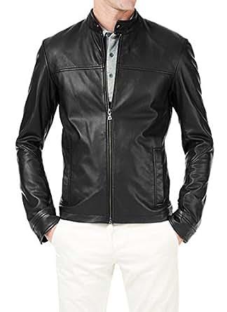 Zafy Leather Men's Lambskin Leather Jacket X-Large Black
