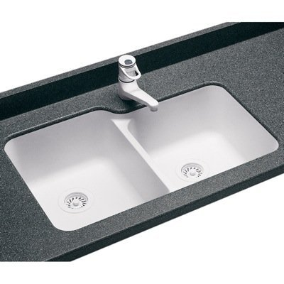 Swanstone US03015SB.050 Solid Surface Undermount Double-Bowl Kitchen Sink 33-in L X 21.25-in H X 8.25-in H Tahiti Desert
