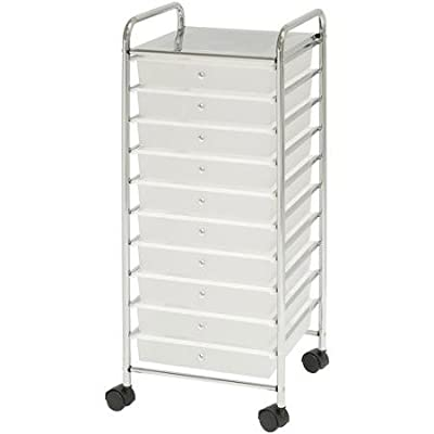 Chrome Finished Storage Tower Made with Metal Frames - Features Rolling Casters for Mobility - Includes 10 Frosted White Plastic Sliding Drawers with Finger-pulls