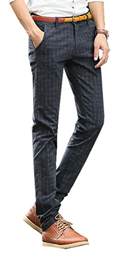 ASL Mens British Style Plaid Straight-Leg Casual Dress Work Pant Black 38