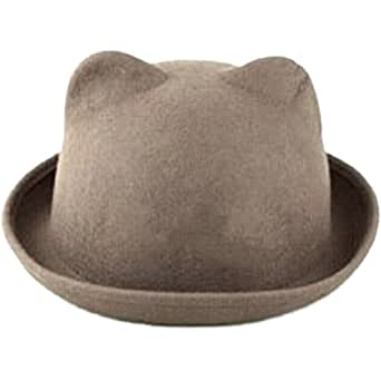 eYourlife2012 Women's Candy Color Wool Rool Up Bowler Derby Cap Cat Ear Hat (Biege)