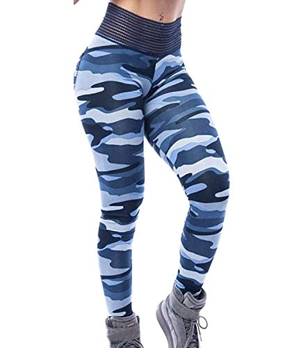 FITTOO Women Butt Lift Ruched Yoga Pants Sport Pants Workout Leggings Sexy High Waist Trousers Camouflage Blue(M)