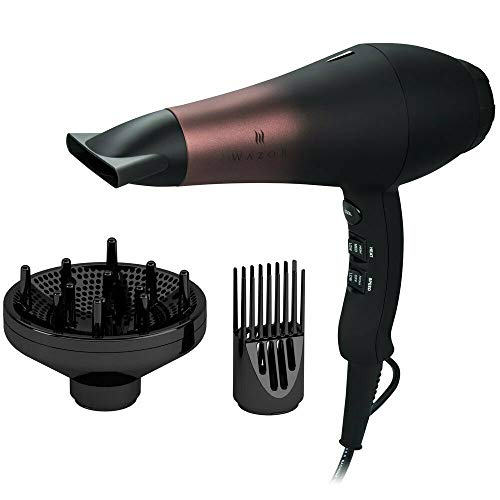 Wazor Professional Ionic Hair Dryer with Diffuser, Infrared Salon Grade Blow Dryer with Comb Attachment, 1875W Powerful Quiet Hair Blow Dryer, Tourmaline Ceramic Hairdryer with Nozzle, Black (The Best Ionic Hair Dryer)