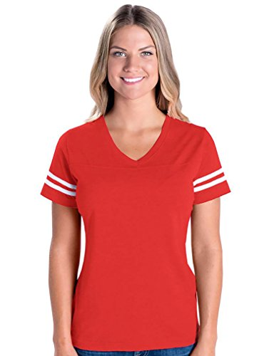 LAT Apparel Ladies Football Jersey V-Neck Tee [Small] Vintage Red / White Short SleeveT-Shirt - Football Outfit For Women