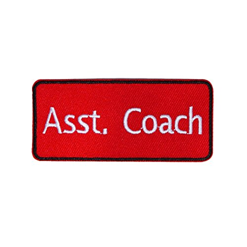 - Red Team Assistant Coach Name Tag Patch Sport Club Instructor Iron On Applique