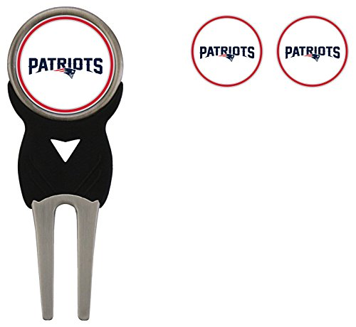 Team Golf NFL New England Patriots Divot Tool with 3 Golf Ball Markers Pack, Markers are Removable Magnetic Double-Sided Enamel