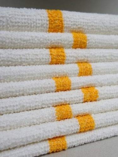 Bar Mop Cleaning Towels (12 Pack, 16 x 19 Inch) - Cotton Terry (Absorbs lot of water), White with Orange Stripe. White Kitchen Towels, Restaurant Cleaning Towels, Shop Towels and Rags By OMNI LINENS