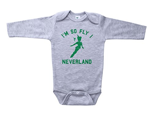 Baffle Peter Pan Inspired Baby Onesie/Neverland/Funny Unisex Infant Outfit (0-3M, Grey LS)]()
