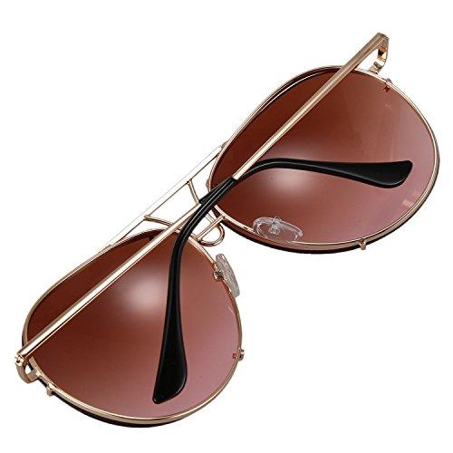 rosado masculino de Gafas gradiente rosado lente UV400 marco multicolor de SODIAL Marron tamano Gafas de Marron femenino de mujer de sol amp; metal de lujo gran sol 8qg7Zx