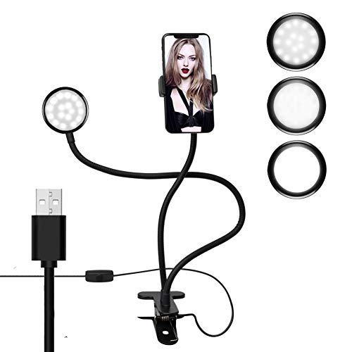 Phone Holder with Light, Selfie Light for Phone Holder,Flexible Desktop Phone Stand Holder with Ring Light for Live Stream Makeup Selfie