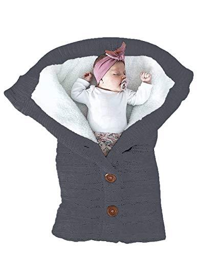 XMWEALTHY Unisex Infant Swaddle Blankets Soft Thick Fleece Knit Baby Girls Boys Stroller Wraps Newborn Item Dark Grey