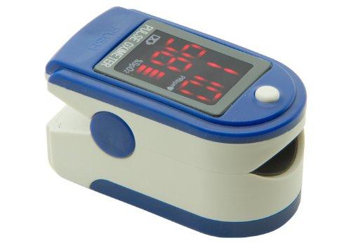 Fingerpulsoximeter TIGA-50DL CMS-50 DL Blau Herzfrequenzmesser SPO2 Sauerstoffsättigung Messung mit LED Display incl. Batterien/Tasche/Schutzhülle Silikon/Trageband + dt. Anleitung 1 Stück