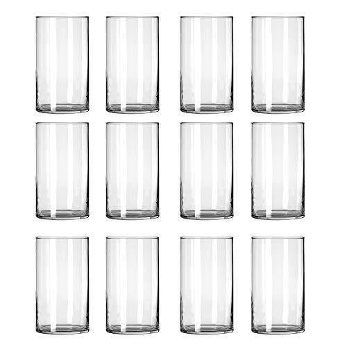 STARSIDE 12 Pack Clear Glass Cylinder Vases, Table Flowers Vase,for Wedding Decrations and Formal Dinners (6 ()
