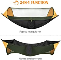 2 in 1 Hanging Hammock Large Outdoor Parachute Nylon Hammocks Lightweight Portable Swing Sleeping Hammock for Travel Backpacking Yard Hiking up to 440Lbs Orange /& Black MoKo Camping Hammock with Net