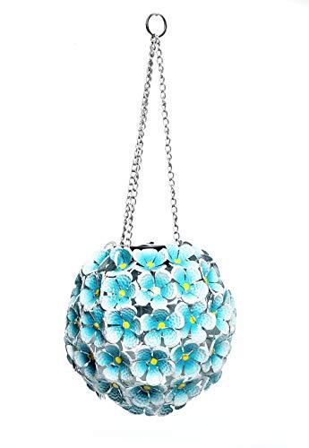 Alpine Corporation Solar Metal Hanging Hydrangea Ornament -70 LED Lights - Outdoor Garden Decor - Blue