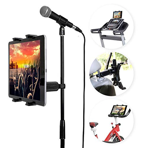 Linkstyle Car Headrest Mount Car Back Seat Mount Holder, Tablet Holder for Microphone Stand Music Mic Pole Mount Compatible for iPad Pro iPad Air iPad Mini 4 3 Samsung Galaxy Tab (All 7-11
