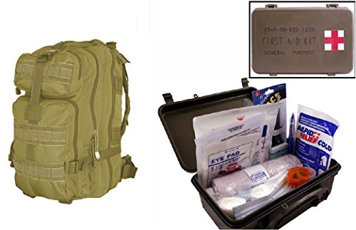 Ultimate Arms Gear Level 3 Assault Molle Tan Backpack Kit   First Aid Trauma Kit General Purpose In Waterproof Carrying Storage Case  Usa Made  Fully Stocked 58 Piece Kit