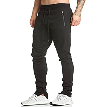 EVERWORTH Men's Workout Running Sweatpants Jogger Pants Casual Multi Sporting Pants Fleeced With Zipper Pockets and Adjustable zippered ankles Black S Tag L