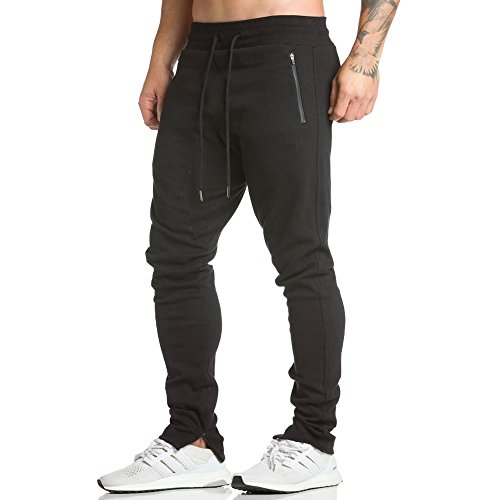 EVERWORTH Men's Workout Running Sweatpants Jogger Pants Casual Multi Sporting Pants Fleeced With Zipper Pockets and Adjustable zippered ankles Black S Tag L (Mens Xs Sweatpants)