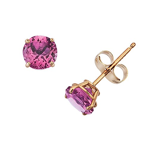 14k Gold Genuine .50ct TW Rhodolite June Birthstone Girls Earrings