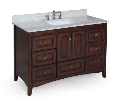 Kitchen Bath Collection KBC388BRCARR Abbey Bathroom Vanity with Marble Countertop, Cabinet with Soft Close Function and Undermount Ceramic Sink, Carrara/Brown, 48