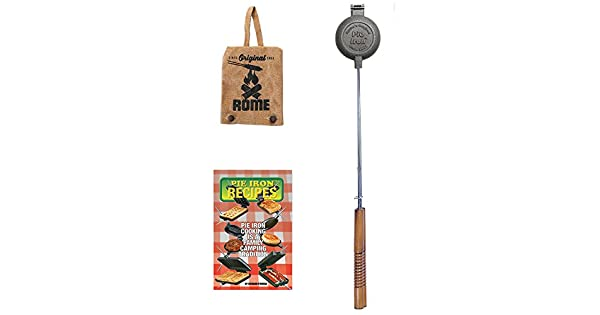 Rome Industries Round Pie Iron Gift Set with Recipe Book /& Canvas Pie Iron Cover 28 Gray 28 CS1805