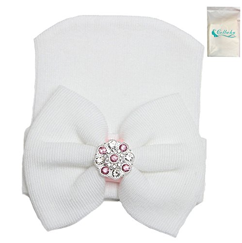 Gellwhu 1-5pcs Sparkle Gem Newborn Baby Girl Nursery Beanie Hospital Hat With Bow (White)