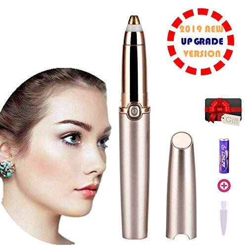 Eyebrow Hair Remover, Electric Painless Eyebrow Trimmer Epilator for Women, Updated Portable Eyebrow Hair Removal Razor with Light (Battery Included), Rose Gold (The Best Eyebrow Products)