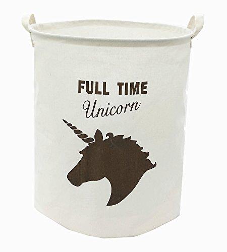 TIBAOLOVER 19.7 Large Sized Waterproof Foldable Canvas Laundry Hamper Bucket with Handles for Storage Bin,Kids Room,Home Organizer,Nursery Storage,Baby Hamper with Unicorn Design(Dark Brown)