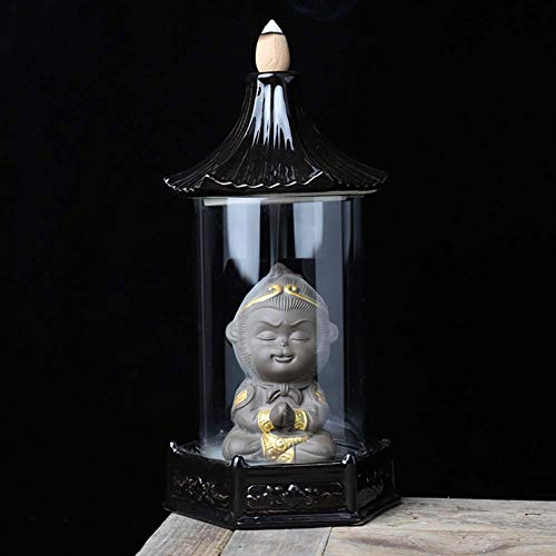 GUVVEAZ Incense Burner, Creative Backflow Tower Monkey Ceramics Incense Holder for Cone Home Decor Aromatherapy Ornament (Tower Monkey)