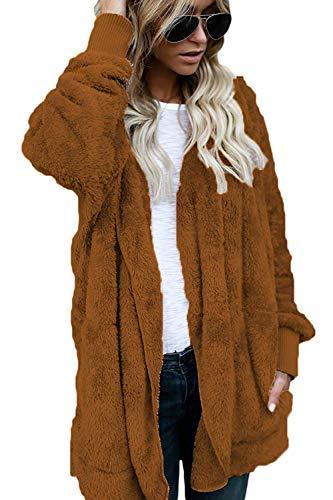 La Zhrui Manteaux Xx Baggy Furry Plus Sweat Cardigan Hiver couleur large Capuche Brun Casual Taille Femmes À wgZgBqrn0R