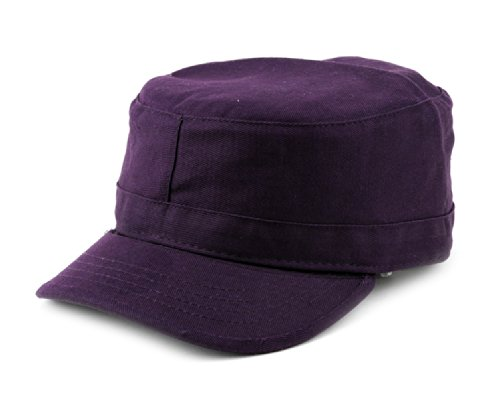 (NYFASHION101 Fashionable Solid Color Unisex Fitted Army Military Cadet Cap, Dark Purple, XL)