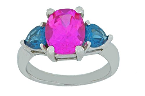 Created Pink Sapphire Oval & Simulated London Blue Topaz Heart Ring .925 Sterling Silver Rhodium Finish
