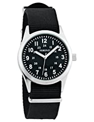 Ferenzi Unisex | Classic Vintage Army Style Watch with Stylish Black on Black Face and Canvas Band | FZ15202