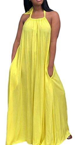 Tutta Giallo Collo Lunghezza Vestito Maxi La Halter Boho Donne Backless Jaycargogo Sexy Dress qxOwf6Z7t