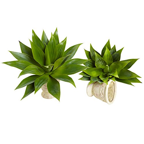 Nearly Natural 6109-S2 Agave Succulent Plant, 17-Inch, Set of 2