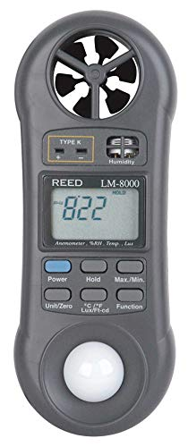 Lm 1 Air - REED Instruments LM-8000 6-in-1 Multi-Function Environmental Meter (Air velocity/temperature, Ambient Temperature, Humidity, Contact Temperature and Light)