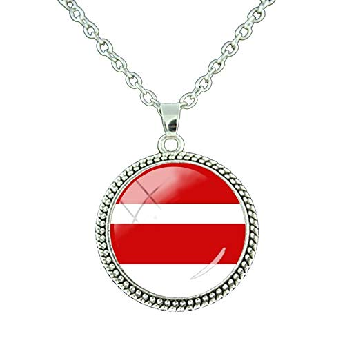 Pendant Necklaces - Finland,Germany National Flag Round Pendant Necklace Greece, France,Japan 26 Countries Flag Style Chain Necklaces FG35 - by TAFAE - 1 PCs ()