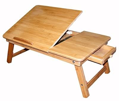 Bamboo Multi-Position Adjustable Laptop Computer Desk & Serving Bed Tray With Drawer