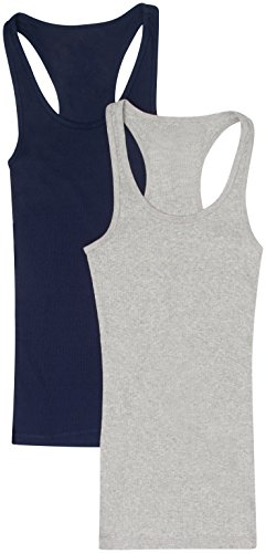 2 Pack Zenana Women's Ribbed Racerback Tank Tops Small Navy, H Gray